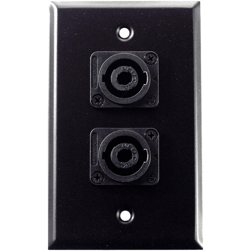Whirlwind 1-Gang Wall Mounting Plate with 2 Neutrik NL4 Speakons (Black Finish)