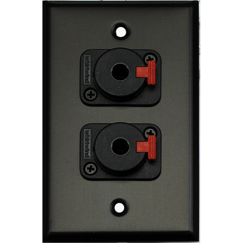 "Whirlwind 1-Gang Wall Mounting Plate with 2 Whirlwind WCQF 1/4"" Jacks (Black Finish)"