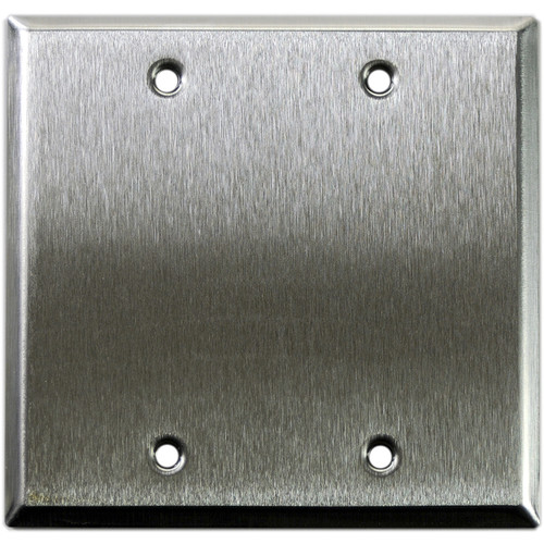 Whirlwind 2-Gang Blank Wall Plate (Stainless Steel Finish)