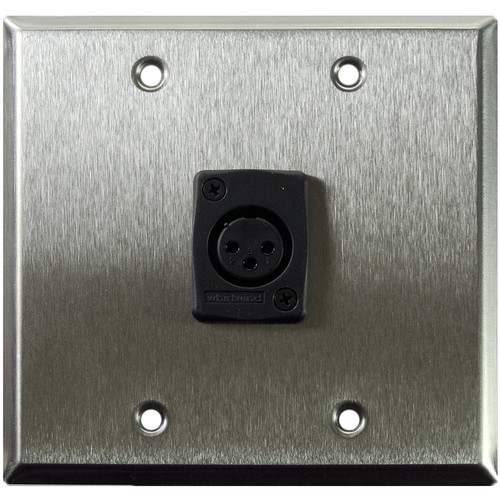 Whirlwind WP2/1FW 2-Gang Wall Plate with 1 Whirlwind WC3F Female XLR Terminal (Stainless Steel Finish)
