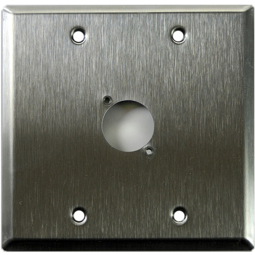 Whirlwind 2-Gang Wall Mounting Plate Punched for 1 Neutrik XLR (Stainless Steel Finish)