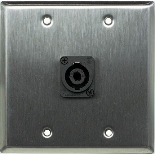 Whirlwind WP2/1NL4 2-Gang Wall Plate with 1 Neutrik NL4 Speakon Terminal (Stainless Steel Finish)