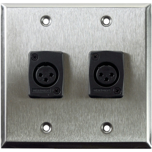 Whirlwind WP2/2FW 2-Gang Wall Plate with 2 Whirlwind WC3F Female XLR Terminals (Stainless Steel Finish)