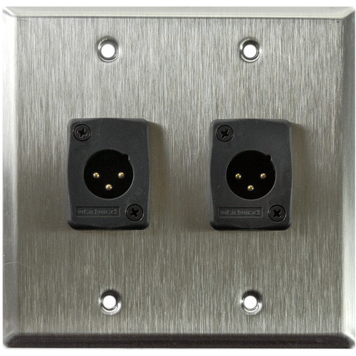 Whirlwind WP2/2MW 2-Gang Wall Plate with 2 Whirlwind WC3M Male XLR Terminals (Stainless Steel Finish)