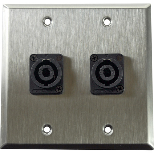 Whirlwind 2-Gang Wall Mounting Plate with 2 Neutrik NL4 Speakons (Stainless Steel Finish)
