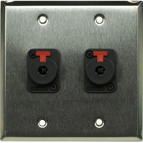 "Whirlwind 2-Gang Wall Mounting Plate with 2 Whirlwind WCQF 1/4"" Jacks (Stainless Steel Finish)"
