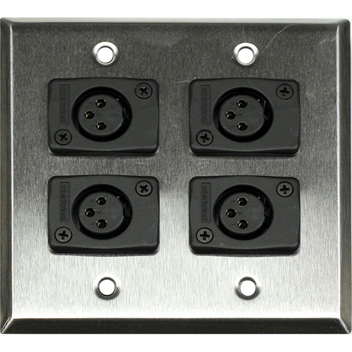 Whirlwind WP2/4FW 2-Gang Wall Plate with 4 Whirlwind WC3F Female XLR Terminals (Stainless Steel Finish)
