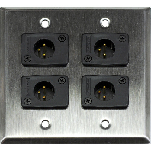 Whirlwind 2-Gang Wall Mounting Plate with 4 Whirlwind WC3M Male XLRs (Stainless Steel Finish)