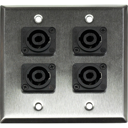 Whirlwind WP2/4NL4 2-Gang Wall Plate with 4 Neutrik NL4 Speakon Terminals (Stainless Steel Finish)