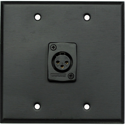Whirlwind WP2B/1FW 2-Gang Wall Plate with 1 Whirlwind WC3F Female XLR Terminal (Black Finish)