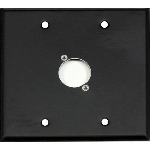 Whirlwind WP2B/1NDH 2-Gang Wall Plate Punched for 1 Neutrik XLR Terminal (Black Finish)