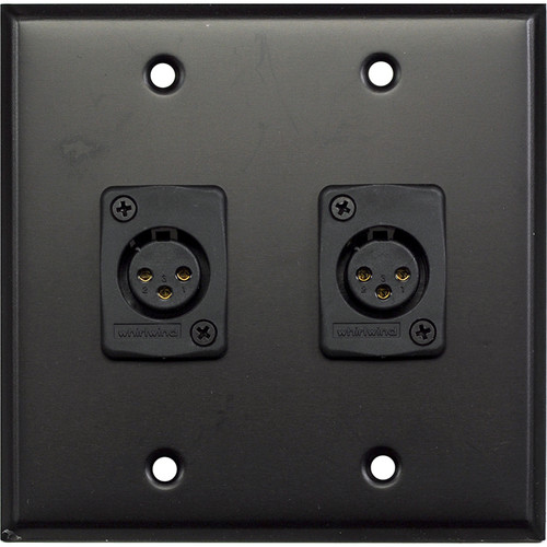 Whirlwind WP2B/2FW 2-Gang Wall Plate with 2 Whirlwind WC3F Female XLR Terminals (Black Finish)