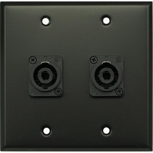 Whirlwind WP2B/2NL4 2-Gang Wall Plate with 2 Neutrik NL4 Speakon Terminals (Black Finish)