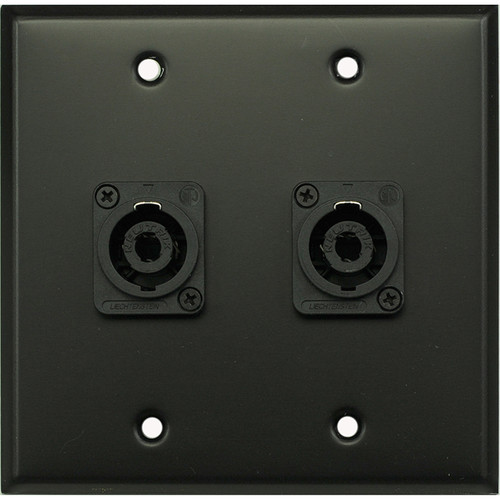 Whirlwind WP2B/2NL4 2-Gang Wall Plate with 2 Neutrik NL4 Speakon Terminals (Black Finish)