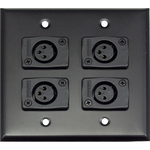 Whirlwind WP2B/4FW 2-Gang Wall Plate with 4 Whirlwind WC3F Female XLR Terminals (Black Finish)