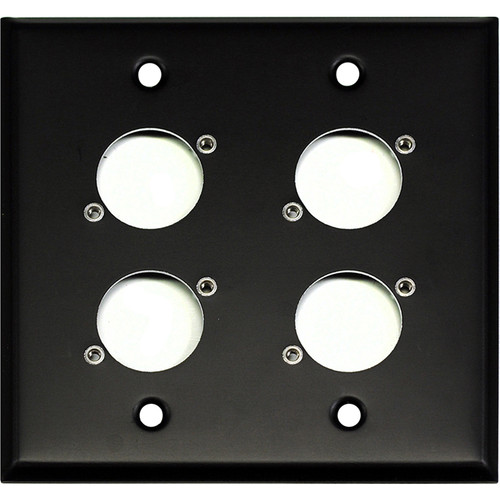 Whirlwind WP2B/4H 2-Gang Wall Plate Punched for 4 Whirlwind/Switchcraft D3F Terminals (Black Finish)