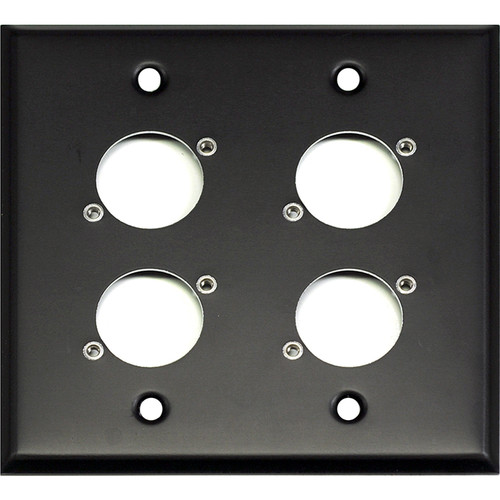 Whirlwind WP2B/4NDH 2-Gang Wall Plate Punched for 4 Neutrik XLR Terminals (Black Finish)