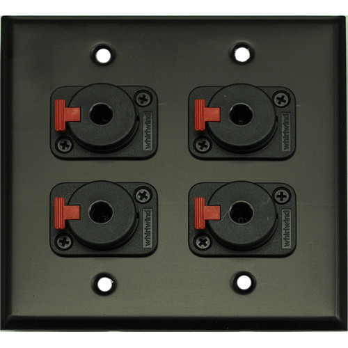 "Whirlwind 2-Gang Wall Mounting Plate with 4 Whirlwind WCQF 1/4"" Jacks (Black Finish)"