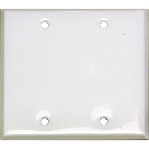 Whirlwind 2-Gang Blank Wall Plate (White on Steel Finish)