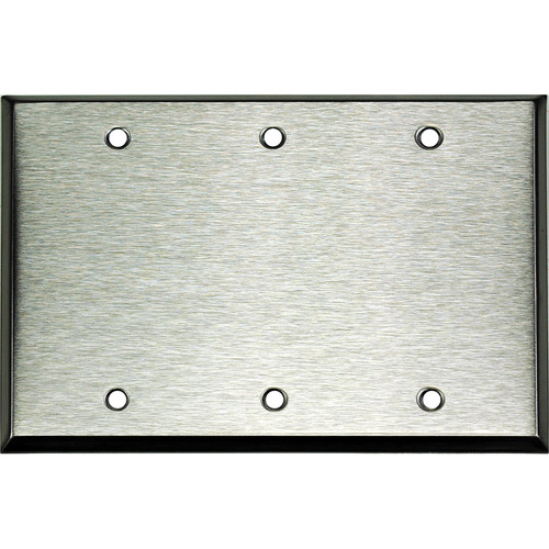 Whirlwind 3-Gang Blank Wall Plate (Stainless Steel Finish)