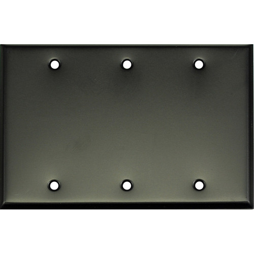 Whirlwind 3-Gang Blank Wall Mounting Plate (Black Finish)