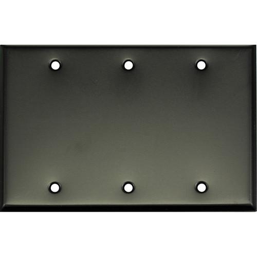 Whirlwind 3-Gang Blank Wall Plate (Black Finish)