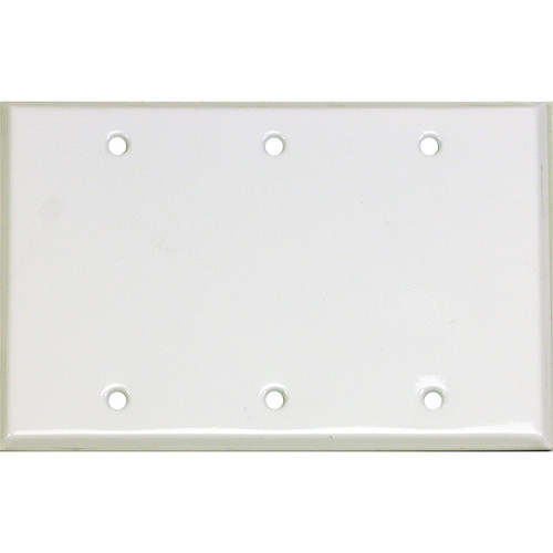 Whirlwind 3-Gang Blank Wall Plate (White on Steel Finish)