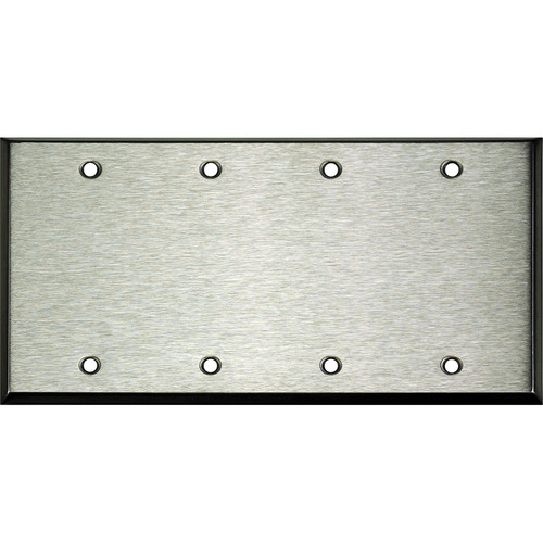 Whirlwind 4-Gang Blank Wall Plate (Stainless Steel Finish)