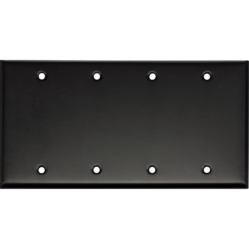 Whirlwind 4-Gang Blank Wall Mounting Plate (Black Finish)