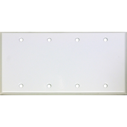 Whirlwind 4-Gang Blank Wall Plate (White on Steel Finish)