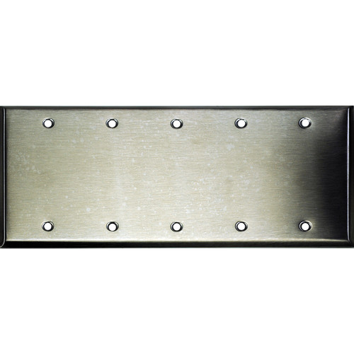 Whirlwind 5-Gang Blank Wall Plate (Stainless Steel Finish)