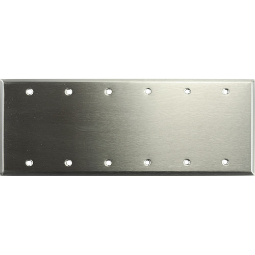 Whirlwind 6-Gang Blank Wall Plate (Stainless Steel Finish)
