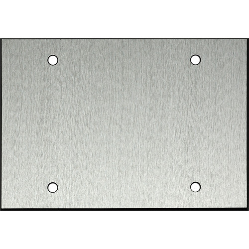 "Whirlwind 3-Gang Blank Wall Mounting Plate (.125"" Clear Anodized Aluminum Finish)"