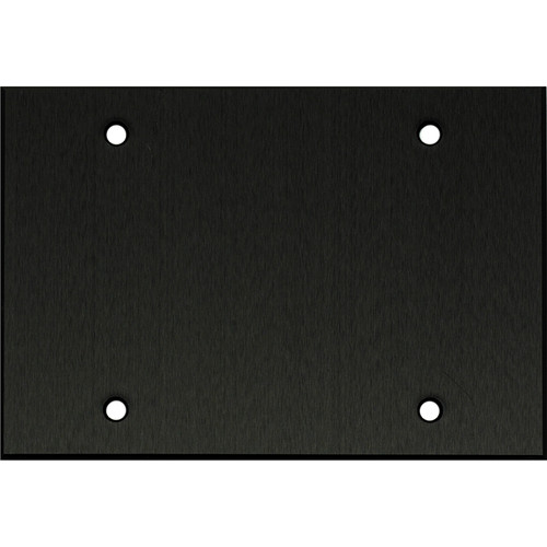 "Whirlwind 3-Gang Blank Wall Mounting Plate (.125"" Black Anodized Aluminum Finish)"