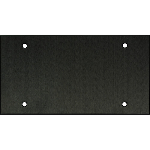 """Whirlwind 4-Gang Blank Wall Plate (0.125"""" Black Anodized Aluminum Finish)"""