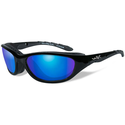 Wiley X Airrage Polarized Sunglasses (Black Frame, Blue Mirror Lens)