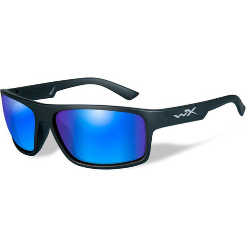 Wiley X Peak Polarized Sunglasses (Matte Black Frames, Blue Mirror Lens)