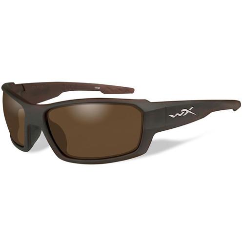 Wiley X Rebel Polarized Sunglasses (Matte Layered Tortoise Frame, Bronze Lens)