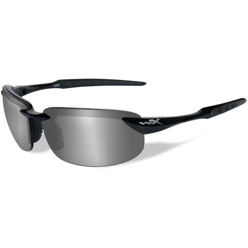 Wiley X Tobi Polarized Sunglasses (Black Frames, Silver Flash Lenses)