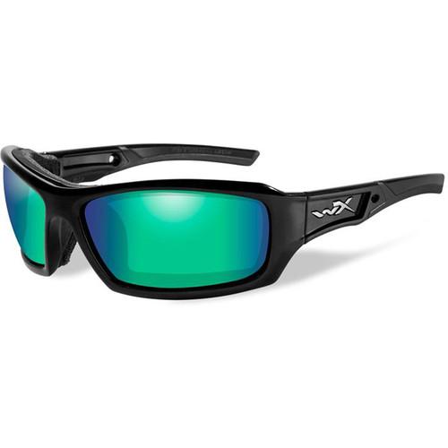 Wiley X Echo Pol Sunglasses (Gloss Black Frame, Emerald Mirror Lens)