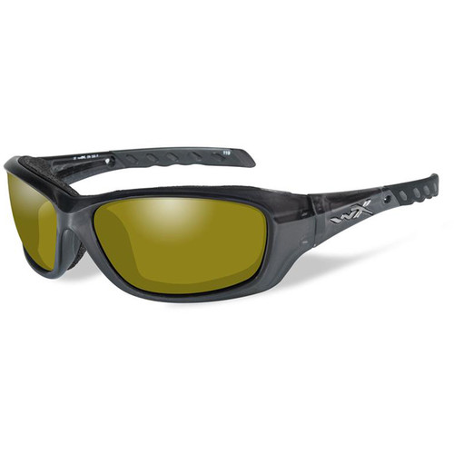 Wiley X Gravity Polarized Sunglasses (Black Crystal Frames, Yellow Lenses)