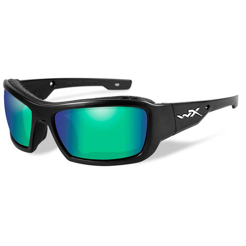 Wiley X Knife Polarized Sunglasses (Matte Black Frames, Emerald Mirror Lenses)