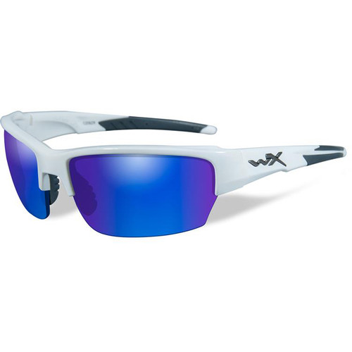 Wiley X Saint Polarized Ballistic Sunglasses (Gloss White Frame, Blue Mirror Lens)