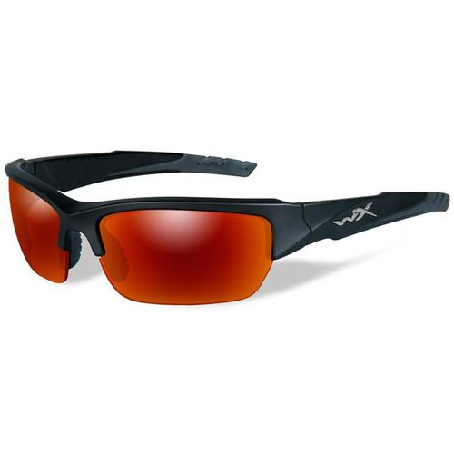 Wiley X WX Valor Polarized Sunglasses (Black 2 Tone Frames, Crimson Mirror Lenses)