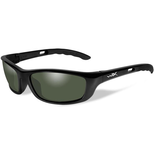 Wiley X P-17 Polarized Sunglasses (Gloss Black Frames, Smoke Green Lenses)