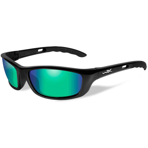 Wiley X P-17 Polarized Sunglasses (Gloss Black Frames, Emerald Mirror Lenses)