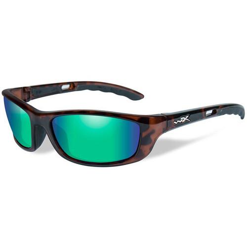 Wiley X P-17 Polarized Sunglasses (Gloss Demi Frames, Emerald Mirror Lenses)