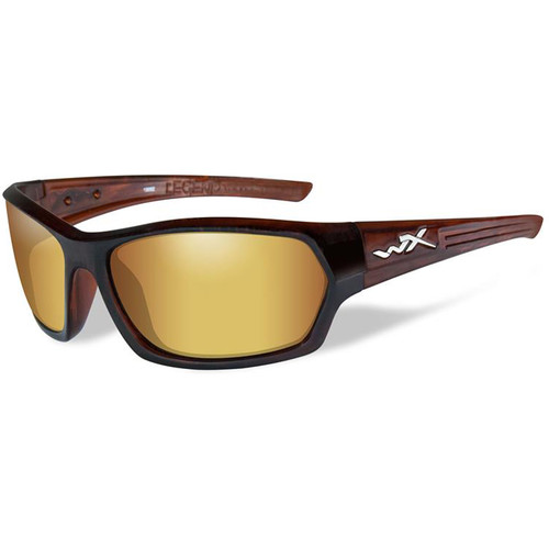 Wiley X Legend Polarized Sunglasses (Gloss Hickory Brown Frames, Amber Lenses)