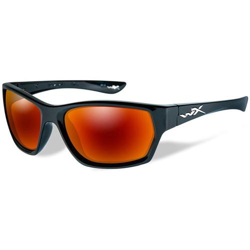 Wiley X Moxy Polarized Sunglasses (Gloss Black Frames, Crimson Mirror Lenses)