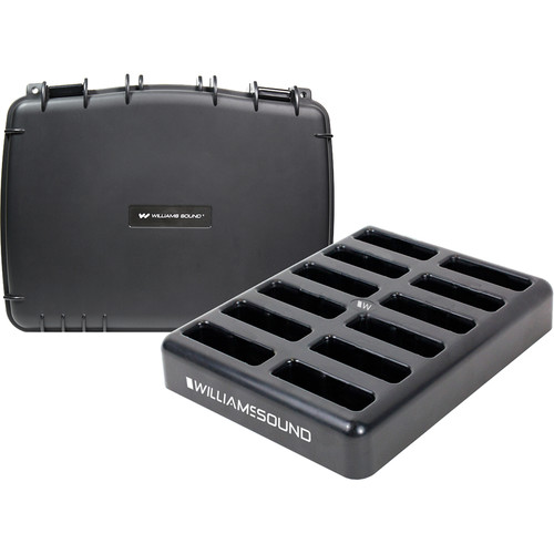 Williams Sound 12-Bay Drop-In Charger and Case for DW DLT 400 Transceiver;DLR 400 RCH Receiver;Power Supply